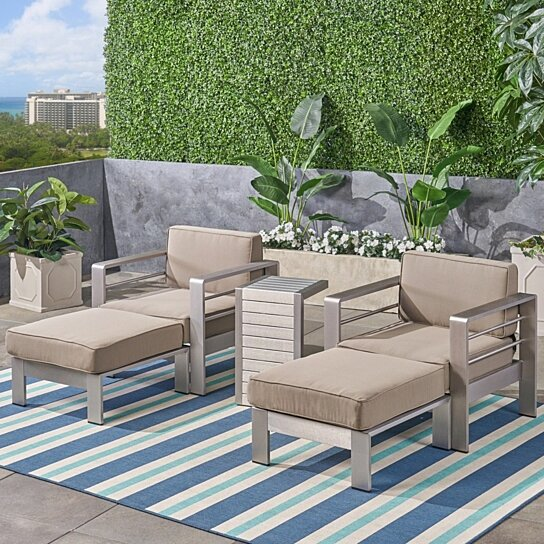 Super Emily Coral Outdoor Aluminum 2 Seater Club Chair Chat Set With Ottomans And Side Table Cjindustries Chair Design For Home Cjindustriesco
