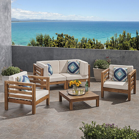Super Emma Outdoor 4 Seater Acacia Wood Loveseat Chat Set Alphanode Cool Chair Designs And Ideas Alphanodeonline