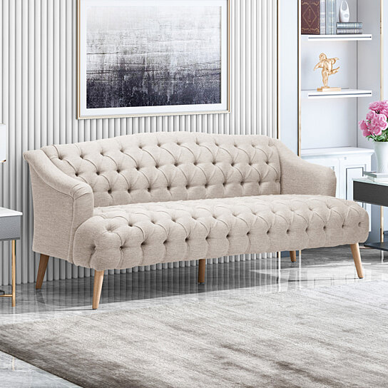 Buy Erin Contemporary Tufted Fabric 3 Seater Sofa By GDFStudio On Dot & Bo