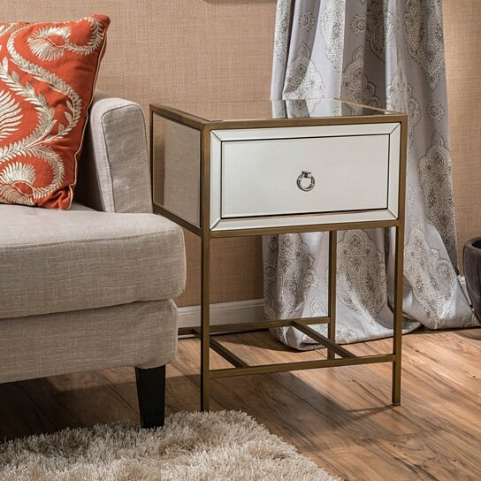 Buy Essa Mirrored Gold Single Drawer Side Table By