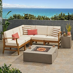 Esther Outdoor 5 Seater V-Shaped Acacia Wood Sofa Set with Square Fire Pit