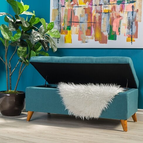 Etoney Contemporary Fabric Storage Ottoman