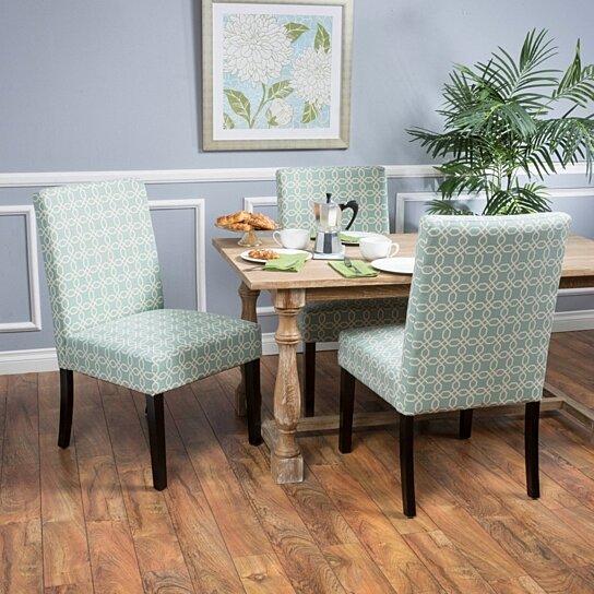 Superb Etonka Contemporary Light Blue White Fabric Dining Chair Set Of 2 Inzonedesignstudio Interior Chair Design Inzonedesignstudiocom