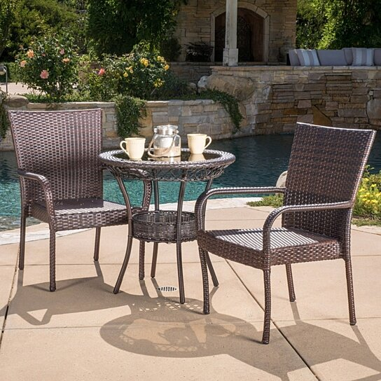 Buy ferndale outdoor multibrown wicker 3pc bistro set by for Best deals on patio furniture sets