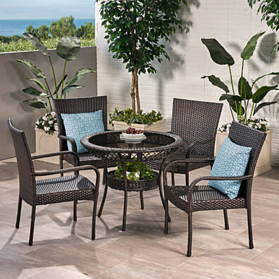 Ferndale Outdoor Multibrown Wicker  5pc Dining Set