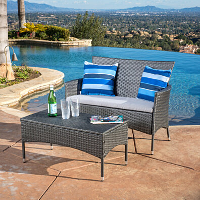 Fidelor Contemporary 2 Piece Outdoor Grey PE Wicker Set