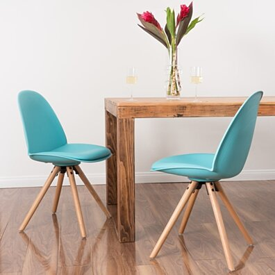 Figogor Contemporary Leather Light Blue Dining Chair (set of 2)