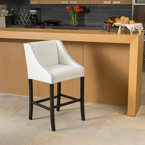 "Filton Ivory Quilted Leather 27"" Counter Stool"