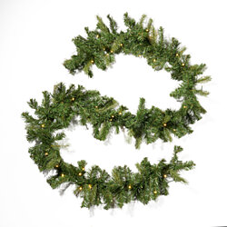 Foster Christmas Garland  9-foot  Pre-Lit  Mixed Spruce  Battery-Operated, Includes Timer  Warm White LED Christmas Lights