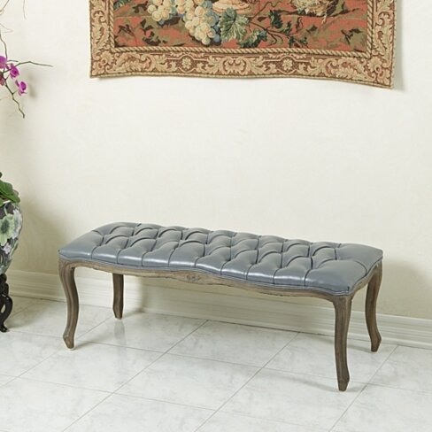 Francis Traditional Button Tufted Bonded Leather Bench