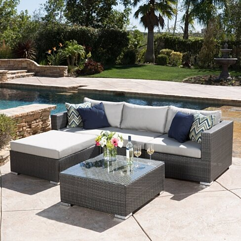 Buy francisco outdoor 5 piece grey wicker seating for Great deals on outdoor furniture