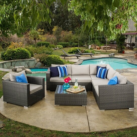 Buy francisco outdoor 7 piece grey wicker seating for Great deals on outdoor furniture
