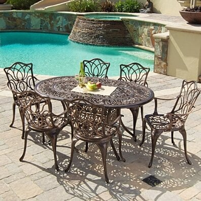 Gardena Outdoor 7pc Cast Aluminum Dining Set