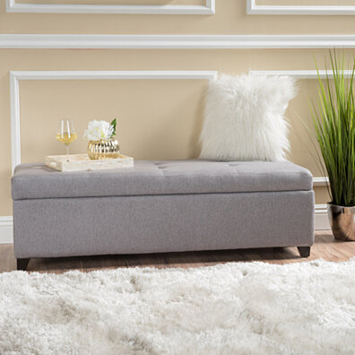 Bajia Tufted Pillow Top Fabric Stoarge Ottoman