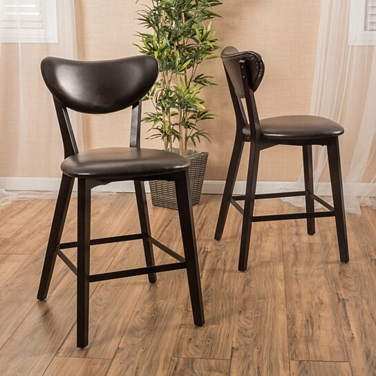 Buy Gicquel Contemporary Brown Leather Counterstool Set
