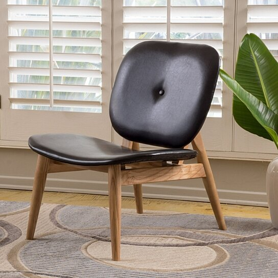 Buy Glalinar Contemporary Black Leather Accent Chair By GDFStudio On OpenSky
