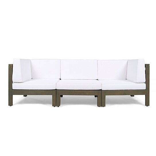 Buy Great Deal Furniture Keith Outdoor Sectional Sofa Set 3-Seater ...