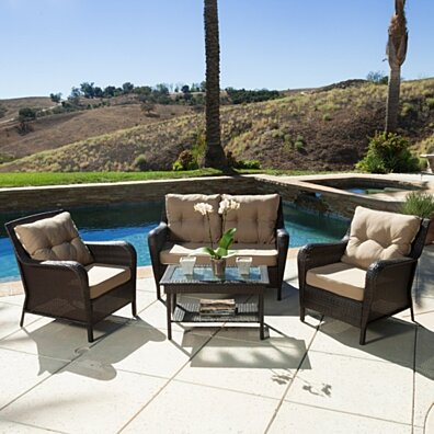 Haiden Outdoor 4pc Brown Wicker Sofa Set