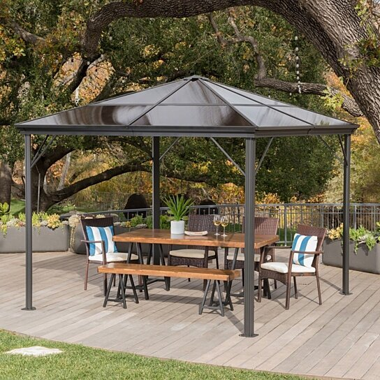 Buy Halley Outdoor 10 X 10 Foot Black Rust Proof Aluminum Framed Hardtop Gazebo No Curtains By Gdfstudio On Dot Bo