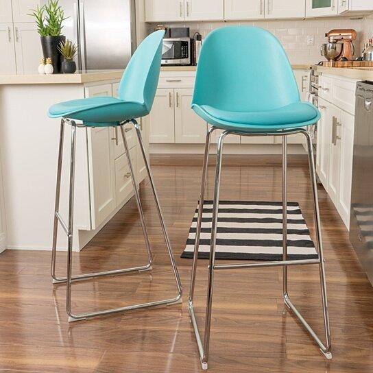 Buy Hanaryn Contemporary Light Blue Bar Chair Set of 2