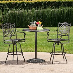 Handel Outdoor Patina Copper Finish Cast Aluminum Bar Set