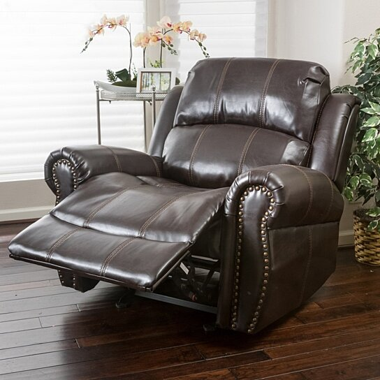 Buy Harbor Dark Brown Leather Glider Recliner Club Chair