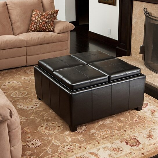 Harley Leather Black 4 Tray Top Storage Ottoman By Gdfstudio On Opensky
