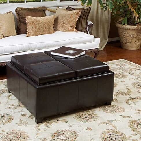 Harley Leather Espresso Tray Top Storage Ottoman