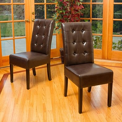Harrison Tufted Brown Leather Dining Chairs (Set of 2)