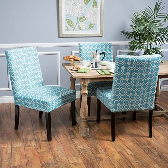 Helran Contemporary Blue/White Fabric Dining Chair (Set of 2)