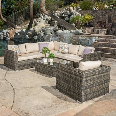 Henderson Outdoor 7-piece Wicker Seating Sectional Set with Sunbrella Cushions
