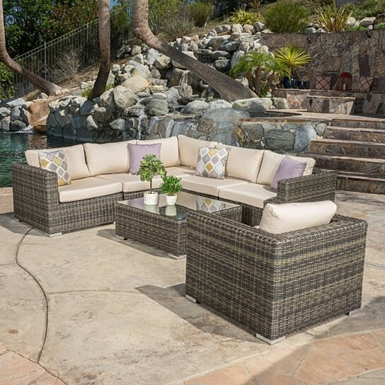Buy Henderson Outdoor 7 Piece Wicker Seating Sectional Set
