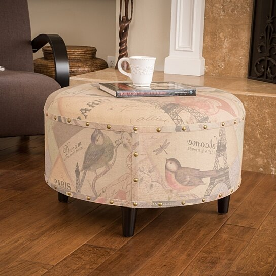 Buy Hollace Linen Printed Fabric Round Ottoman By