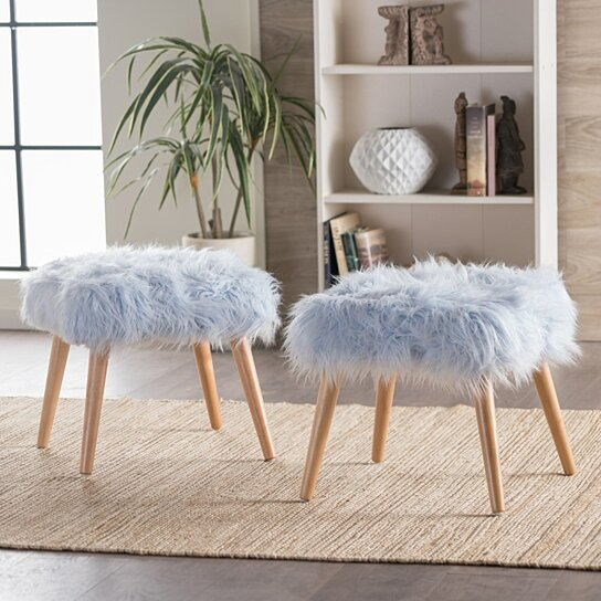 Buy Hudson Faux Fur Ottoman Set Of 2 By Gdfstudio On Dot