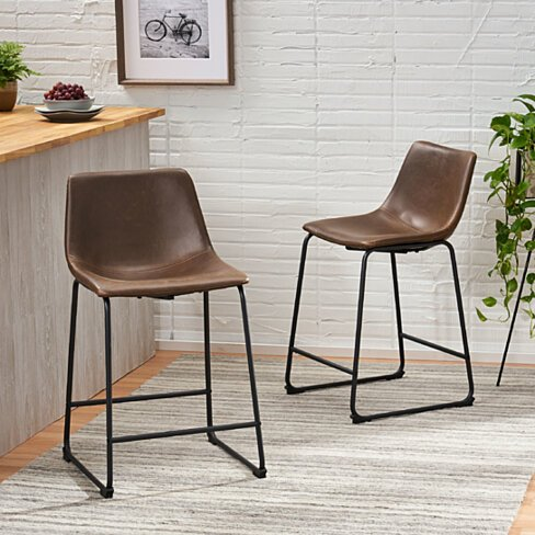 Idash Vintage Style Brown 24-Inch Counter Stool (Set of 2)