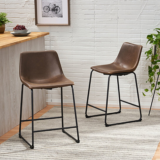 Buy Idash Vintage Style Brown Counter Stool Set Of 2 By