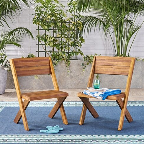 Irene Outdoor Acacia Wood Chairs (Set of 2)