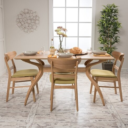 Isador Mid Century Fabric & wood Finish 5 Piece Dining Set