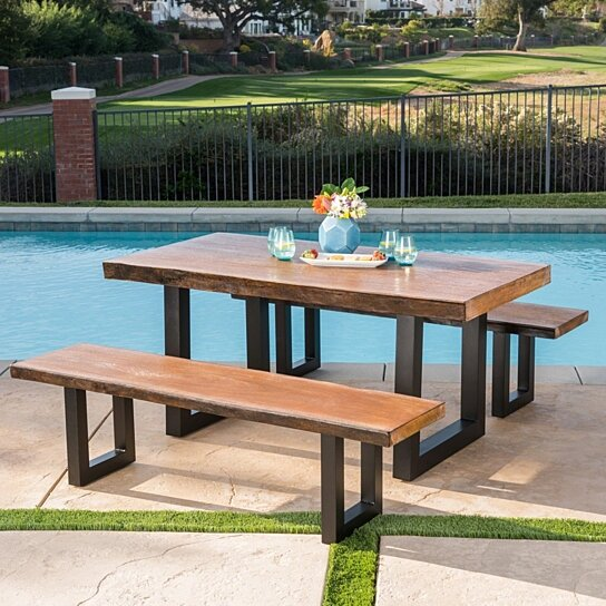 Super Ishtar Outdoor 3 Piece Faux Live Edge Teak Finish Lightweight Concrete Picnic Set Evergreenethics Interior Chair Design Evergreenethicsorg