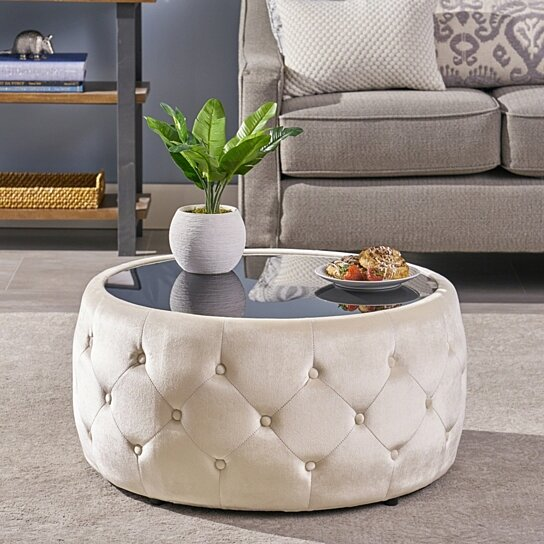 Buy Ivy Glam Velvet And Tempered Glass Coffee Table Ottoman By Gdfstudio On Dot Bo