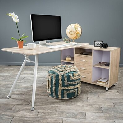 Denise Austin Home Lyon Computer Desk with Storage Cabinet
