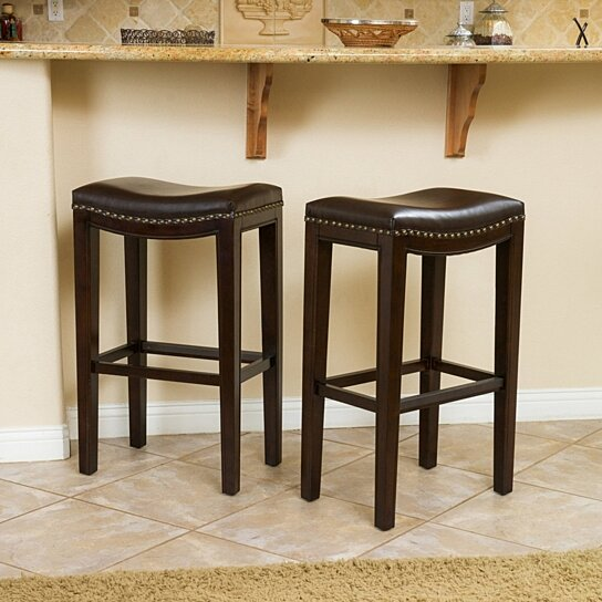 Buy Jaeden Backless Brown Leather 30 Inch Bar Stools Set Of 2 By