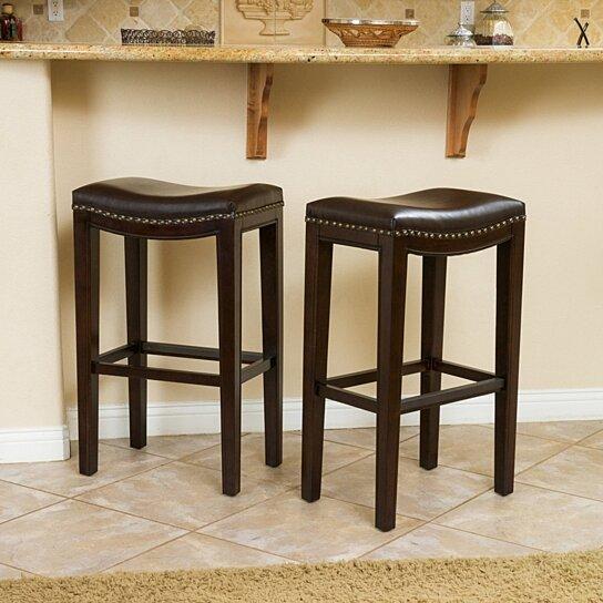 Strange Jaeden Backless Brown Leather 30 Inch Bar Stools Set Of 2 Inzonedesignstudio Interior Chair Design Inzonedesignstudiocom