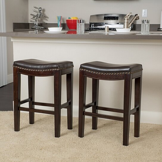 Excellent Jaeden Backless Brown Leather 26 Inch Counter Stools Set Of 2 Gmtry Best Dining Table And Chair Ideas Images Gmtryco