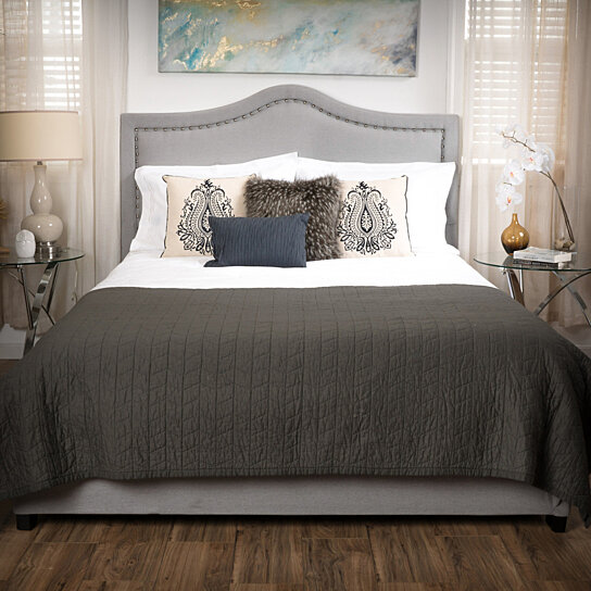 Buy james grey upholstered studded fabric queen size bed for James furniture and mattress deals
