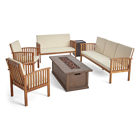Awesome Jean Outdoor 6 Piece Acacia Wood Sofa And Loveseat Conversational Set With Fire Pit Unemploymentrelief Wooden Chair Designs For Living Room Unemploymentrelieforg