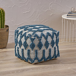 Jessie Boho Cube Wool and Cotton Pouf