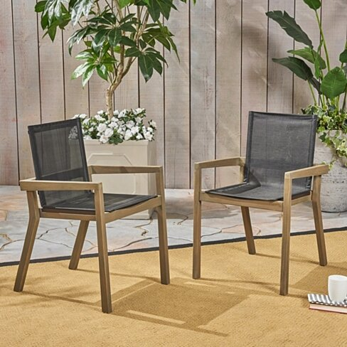 Jimmy Outdoor Acacia Wood and Mesh Dining Chairs (Set of 2)