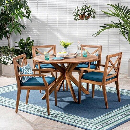 Buy Jordan Outdoor 5 Piece Acacia Wood Dining Set By Gdfstudio On Dot Bo
