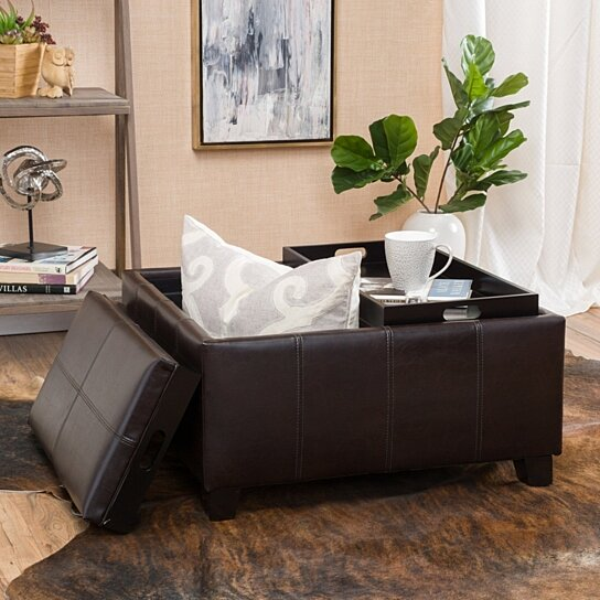 Awe Inspiring Justin 2 Tray Top Brown Leather Ottoman Coffee Table W Storage Download Free Architecture Designs Xerocsunscenecom